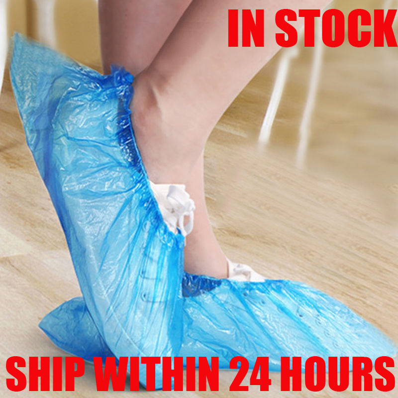 100/1000PCS  Medical Waterproof Anti Slip Boot Covers Plastic Disposable Shoe Covers Overshoes Safety Drop Shipping Wholesale