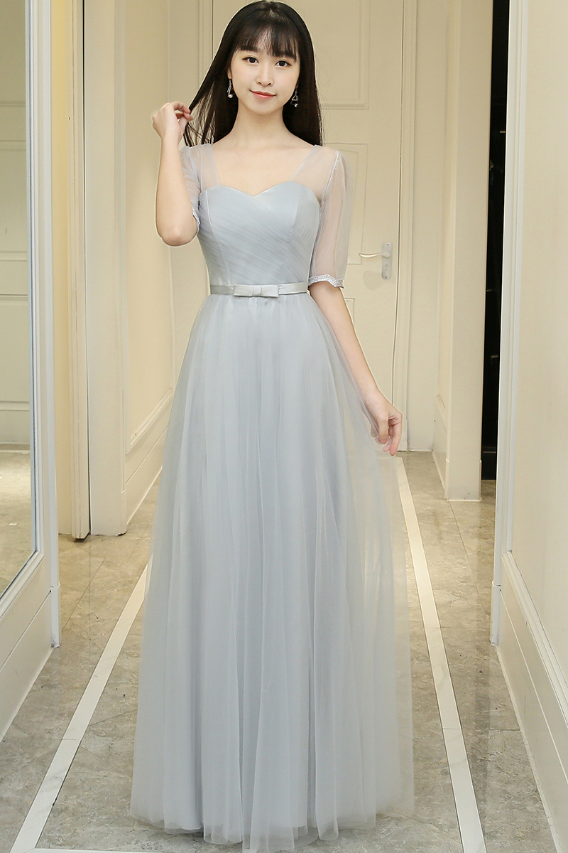 Tulle Guest Wedding Party Floor-Length Formal Plus Size Ladies Long Sexy Prom Dress Gray  Burgundy Bridesmaid Dresses Elegant