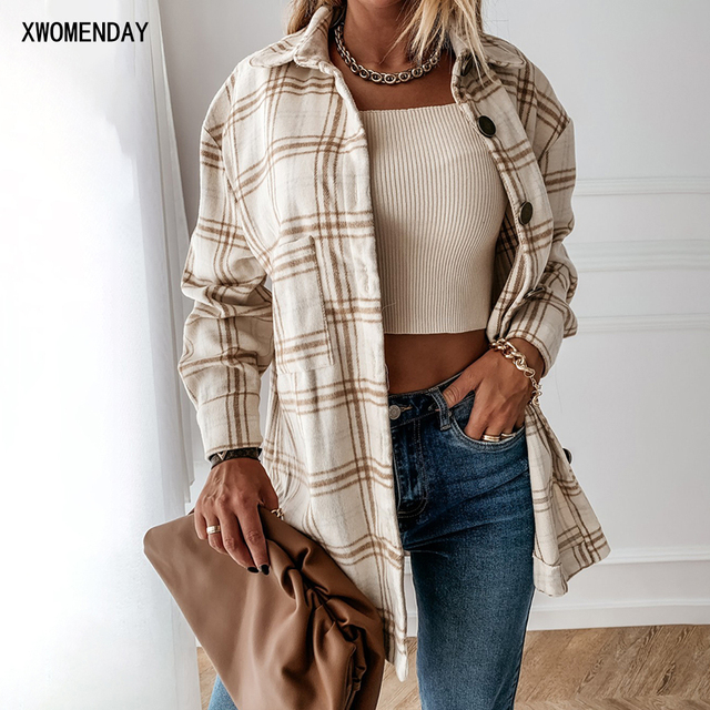 Autumn Spring Long Plaid Shirt Women Casual White Long Sleeve Pocket Button Up Collared Shirt Top Clothes Fashion New 2020 Fall