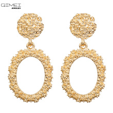 CC big Statement vintage round drop earrings with color rose gold silver For Women zinc alloy Earrings party Jewelry wholesale seuhuoran drop earrings for woman zinc alloy clip with shiny sequins resin water drip earrings big pendants jewelry brand