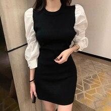 Корейское модное вязаное Черное мини платье в стиле пэчворк осеннее французское винтажное вечерние с круглым вырезом облегающее вечернее платье с пышными рукавами платьяПлатья    АлиЭкспресс