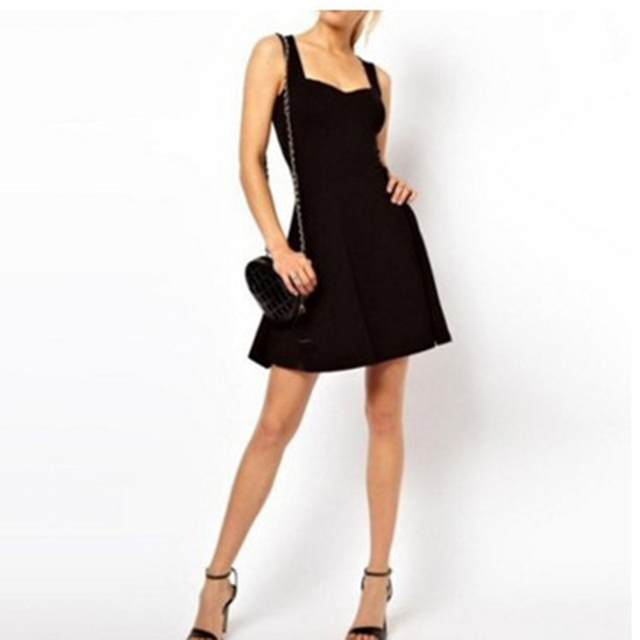 Sexy Black Summer Clothes Bodycon Mini Tank Dress High Waist Slim Solid Fit Flare Skater Casual Dress Women Club Clothing 4