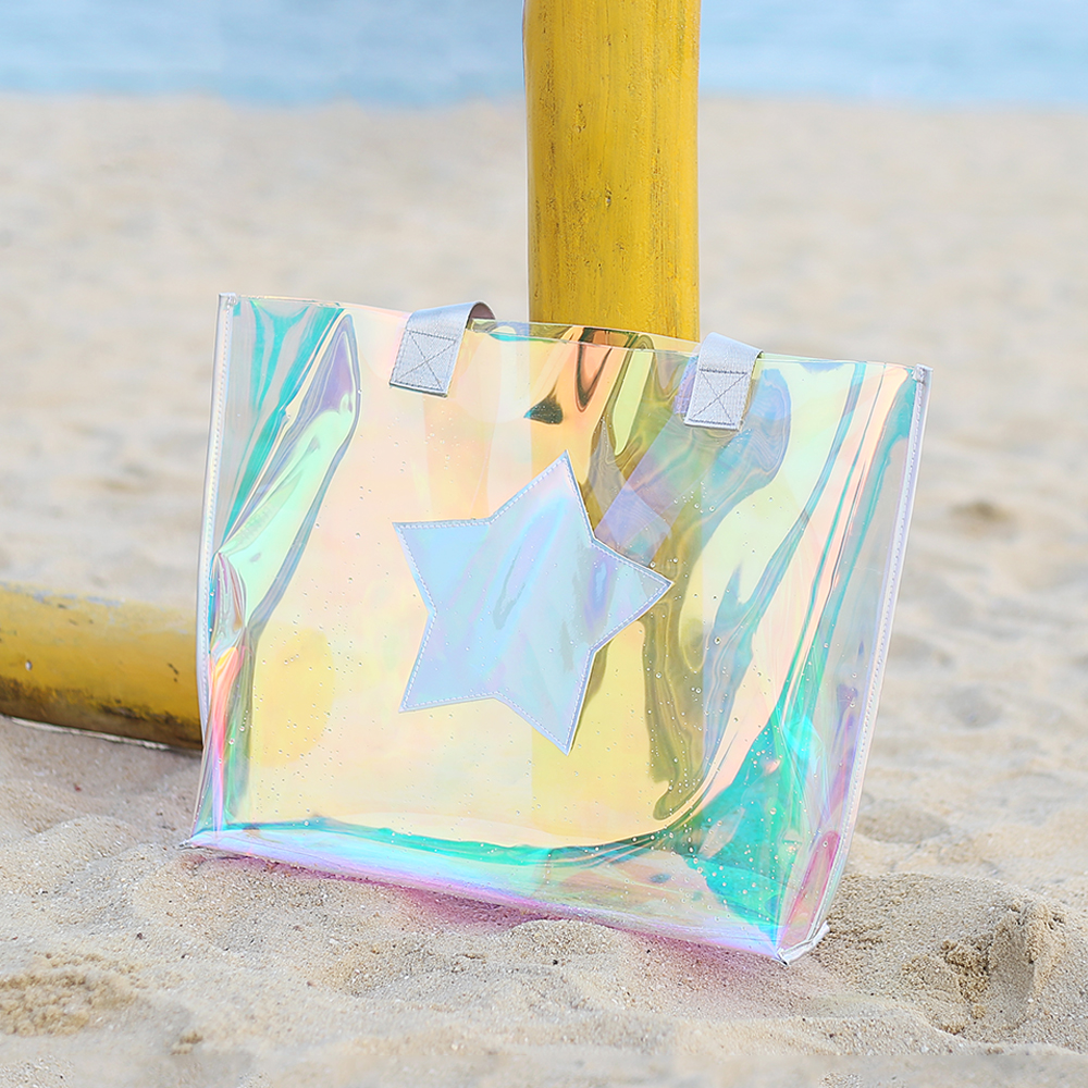 Beach transparent bag woman waterproof laser clear tote bags summer big top-handle bags laser holographic purse jelly handbag 1