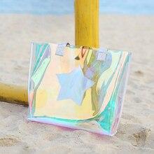 Plaj şeffaf çanta kadın su geçirmez TPU lazer net bez çantalar yaz büyük en saplı çanta lazer holografik jöle çanta