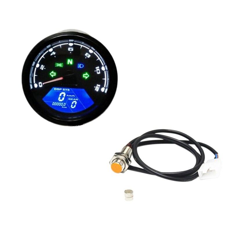 tac/ómetro 2 en 1 LED de la motocicleta volt/ímetro digital del metal del calibrador del tac/ómetro del veloc/ímetro del od/ómetro Tac/ómetro