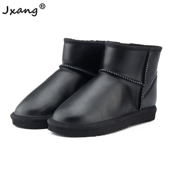 JXANG Waterproof Genuine Leather Fur Winter Boots Warm Wool Women Boots Classic  Snow Boots Women Shoes Lady Ankle Shoes 100% genuine leather natural fur snow boots warm wool women boots classic waterproof ankle boots women shoes lady winter boots