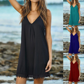 Elegant V Neck Sling Dress Women Summer Sexy Solid Color Casual Sleeveless Pullover Beach Party Loose Dresses Vestidos S-5XL 1