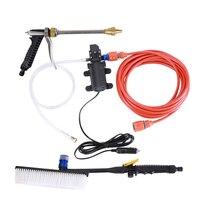 New 60W Dc 12V Car High Pressure Spray Car Washer High Pressure Portable Car Wash Pump Set Tool Kit With Brush -