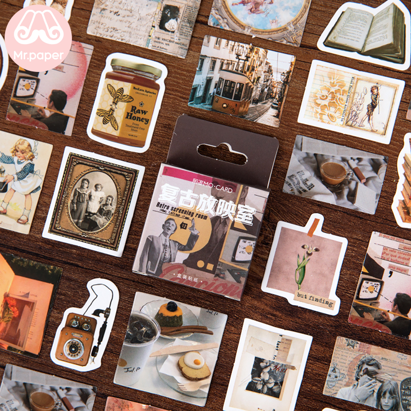Mr.paper 24 Designs Vintage Retro Classic Style Travelling Mini Box Stickers Scrapbooking Planner Diary Deco Stationery Stickers