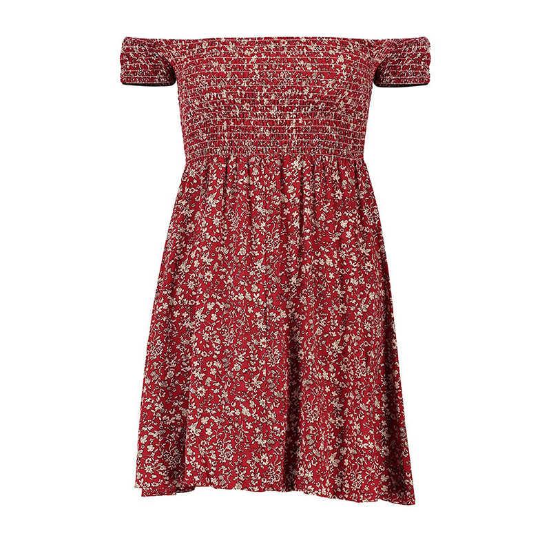 Mulheres verão plus size sexy curto envoltório vestido 2020 impressão fora do ombro sem costas solto de cintura alta casual drsses vestidos femme