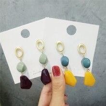 earrings long Acrylic colours stud earrings contracted Vintage irregular geometry tassel fine earrings for women jewelry