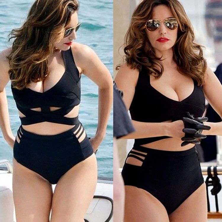 2020 Sexy Bikini European And American Black Sexy Plus Full Size Bikini Split Swimwear Female High Waist Hollow Belt Fat Large