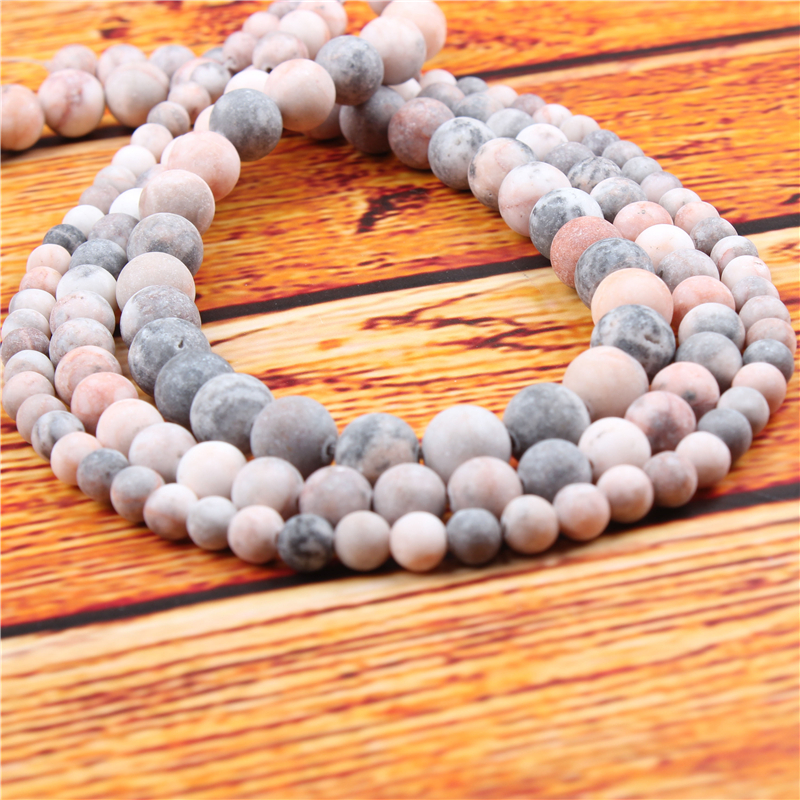 Frosted Zebra Natural Stone Bead Round Loose Spaced Beads 15 Inch Strand 4/6/8/10/12mm For Jewelry Making DIY Bracelet