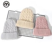 Новинка вязаная шапка женские зимние шапки одноцветные теплые