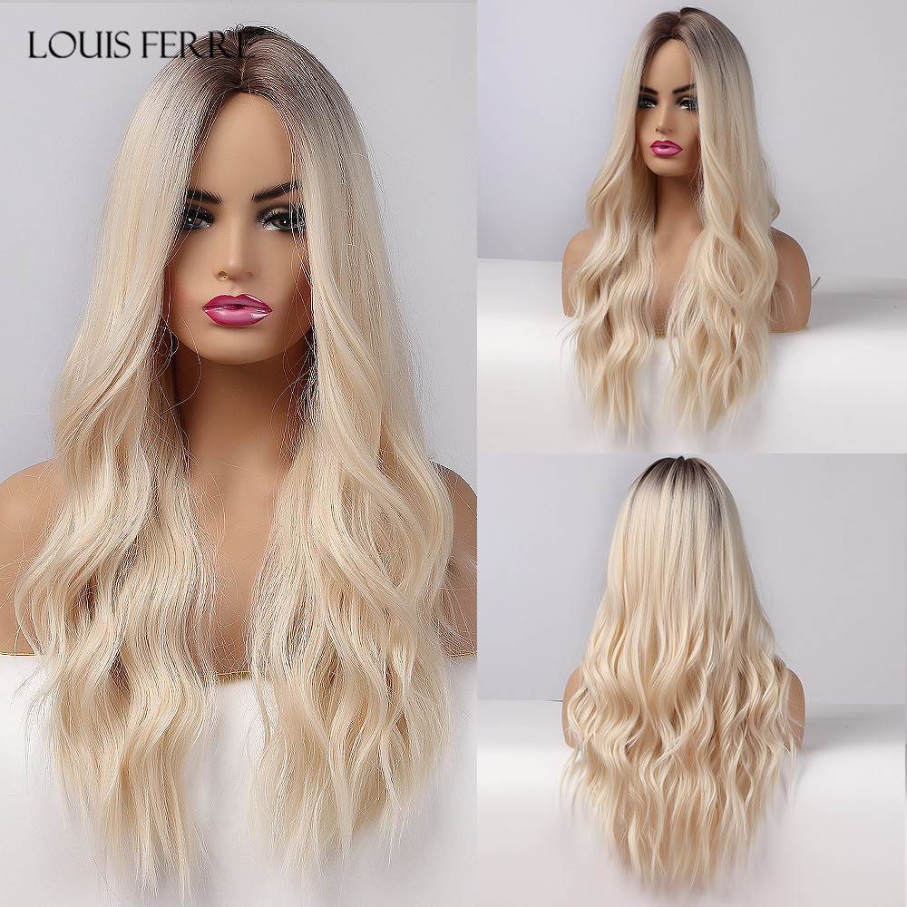 LOUIS FERRE Synthetic Light Blonde Wigs for White Women Long Wave Wig Platinum Fake Hair for Party/Daily Heat Resistant Fibre