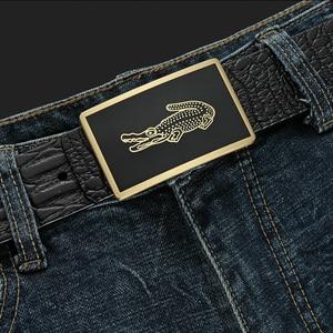 Image 5 - גברים של חגורת עור פרה חגורות מותג אופנה מוצק פליז חלק אבזם שחור אמיתי עור לגברים ג ינס עסקים 3.8cm