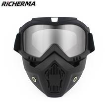 Ochronna maska motocyklowa z goglami zdejmowana kask motocyklisty czapka kominiarka motocykl maska przeciwpyłowa kominiarka taktyczna tanie tanio Richerma CN (pochodzenie) Anty-uv Oddychające Plus size Windproof GG004 Motorcycle Full Face Mask Unisex Men Male Women Female