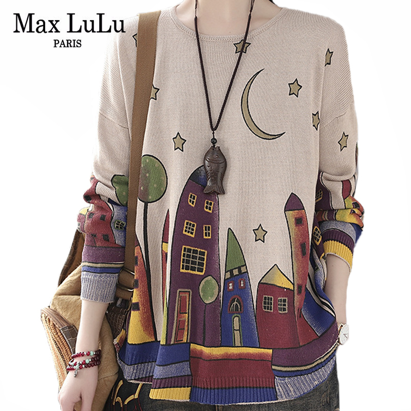 Max LuLu 2020 British Style Spring Fashion Ladies Casual Printed Sweaters Women Loose Oversized Pullovers Female Knitted Jumpers