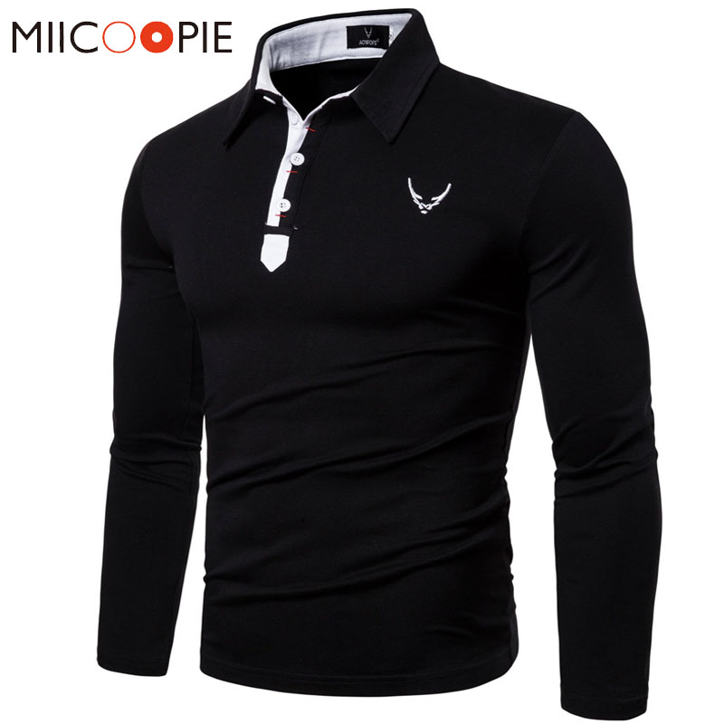 Polo   Shirt Men Long Sleeve 2019 Casual Business Classic Embroidery   Polo   Homme De Marque Haute Qualite Mens Solid   Polo   Tee Shirt