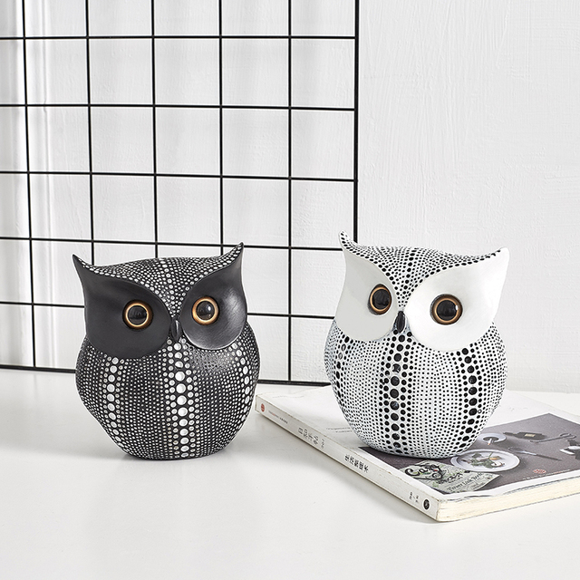Nordic Style Minimalist Crafts White and Black Owl Animal Figurines Resin Statue Home Decoration Miniature Living Room Ornaments 2