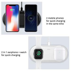 Image 3 - 10W כפול QI מטען אלחוטי Pad עבור IPhone 11 X XR XS מקסימום 8 בתוספת Samsung Galaxy S10 Xiao mi mi 9 מהיר אלחוטי טעינת Dock