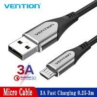 Intervento Micro Cavo USB 3A Nylon USB Carica Veloce di Dati per Samsung Xiaomi LG Android Micro USB Cavi Del Telefono Mobile 2A 0.25M 1M 3M