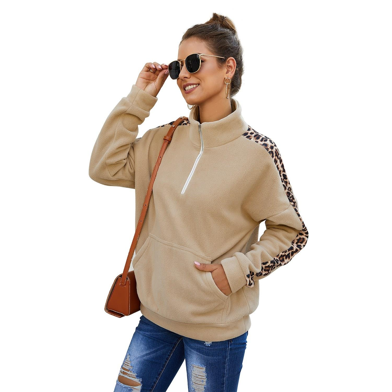 Autumn Splice Winter Sweatshirt Women Streetwear Long Sleeve Turtleneck Pullover Patchwork Casual Leopard Zipper Hoodies