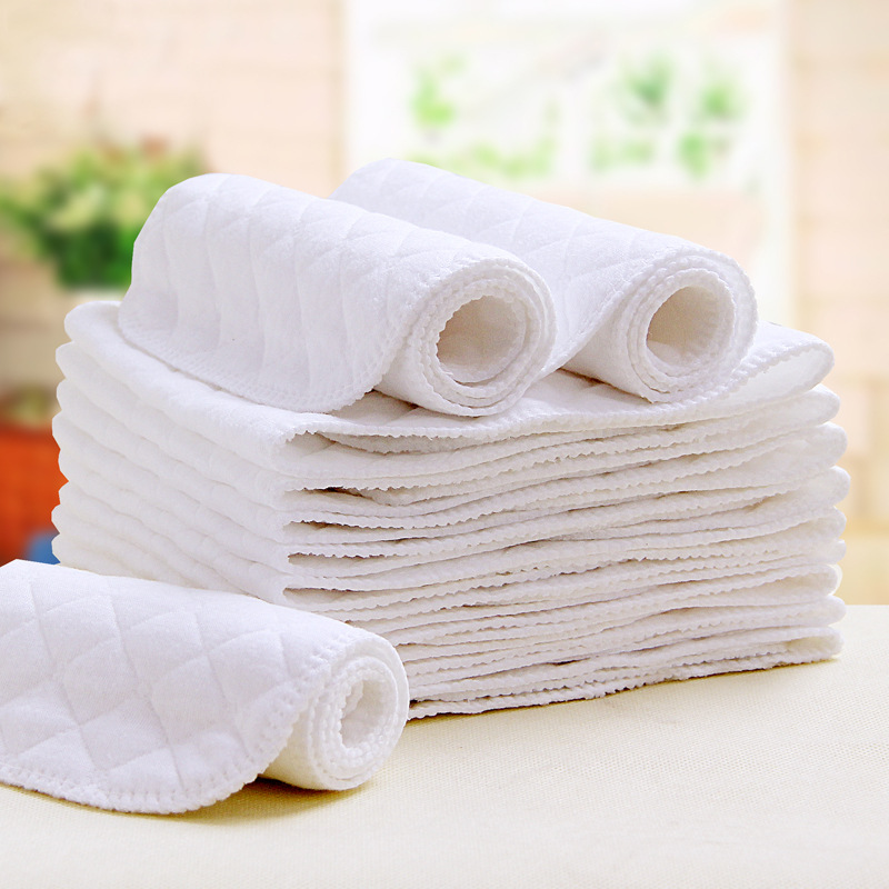 5Pcs/Lot Reusable Baby Diapers 100% Cotton Cloth Diaper Inserts Three Layers Washable Cloth Diaper Inserts Baby Nappy Liners