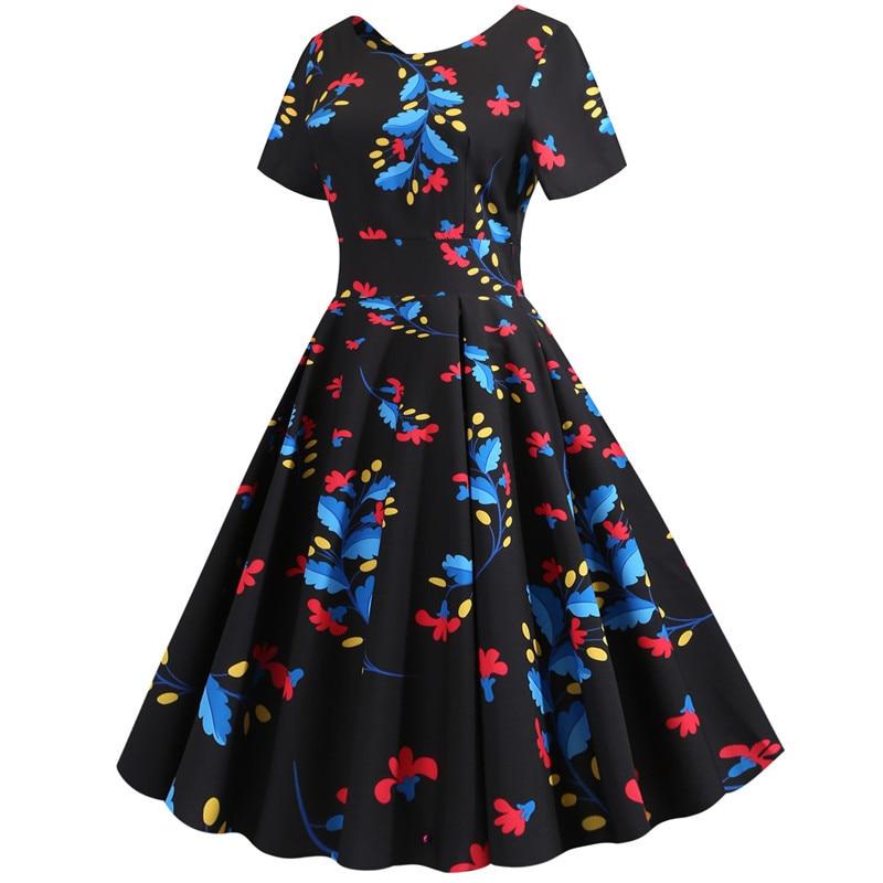 Summer Floral Print Elegant A-line Party Dress Women Slim White Short Sleeve Swing Pin up Vintage Dresses Plus Size Robe Femme 187