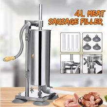 4L Manual Sausage Fill Meat Stuffer Stainless Steel Sausage Filling Machine Homemade Sausage Syringe Sausage Maker Tools HWC