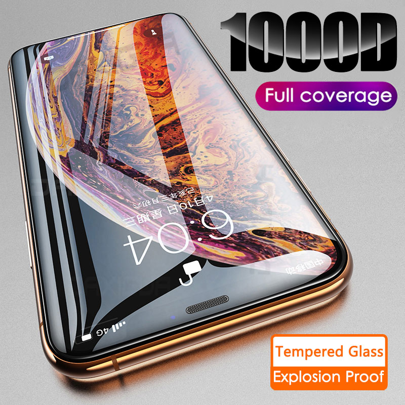 1000D Curved Full Cover Tempered Glass On The For IPhone XR X XS Glass On IPhone XR 11 Pro Max Screen Protector Protective Film
