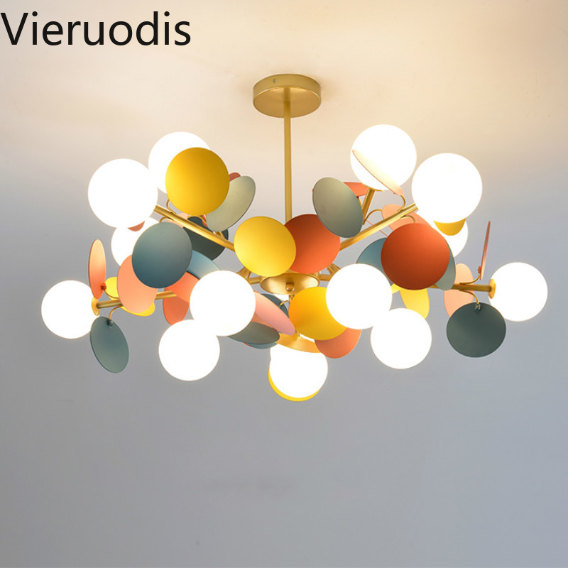 Modern Led Iron Chandelier Decoracion Hogar Moderno Lights for Children's Room Living Room Lustre Pendente Lamp Indoor Lighting