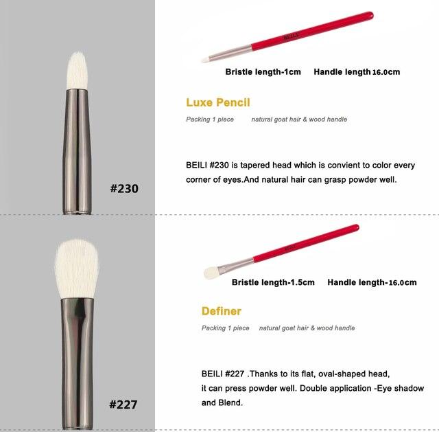 BEILI 1pc Red Professional Eye Makeup Brush Natural Goat Hair Eyeshadow brush Blender Detail Smudger Smoky shade