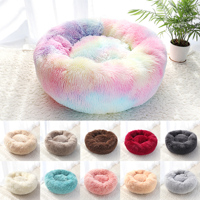 Pet Dog Bed Warm Fleece Round Dog Kennel House Long Plush Winter Pets Dog Beds For Medium Large Dogs Cats Soft Sofa Cushion Mats 1