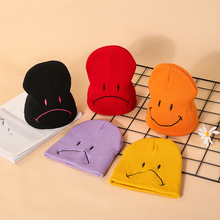 knit Facial Express Baby Winter Hat For Kids Double Side Smile Colorful Knitted Warm Hats Bonnet Caps
