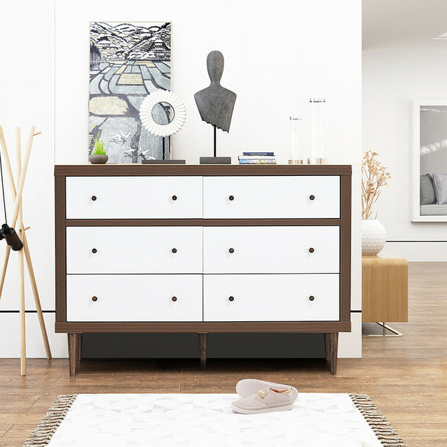 6 Drawer Wooden Chest of Drawers  1