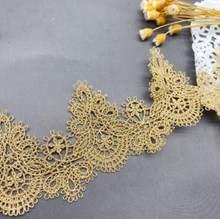 1 jarda/lote largura: 5.8cm requintado solúvel em água ouro rendas vestuário acessórios de costura (ss-2069)