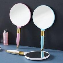 Vintage Handheld lusterko do makijażu ręcznie lustro kosmetyczne Salon kwadratowy okrągły makijaż kosmetyczne kompaktowe lustro z uchwytem dla kobiet