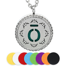BOFEE Silver Aromatherapy Diffuser Essential Oil Necklace Pendant Stainless Steel Magnetic Locket Crystals Jewelry Gift 30MM