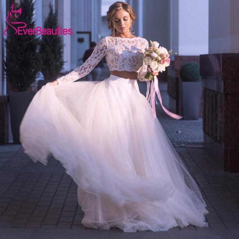 Vestidos De Novia  Beach Wedding Dress Long Sleeves Lace Bride Dress Two Pieces Princess Boho Wedding Gown Tulle Bridal Dress