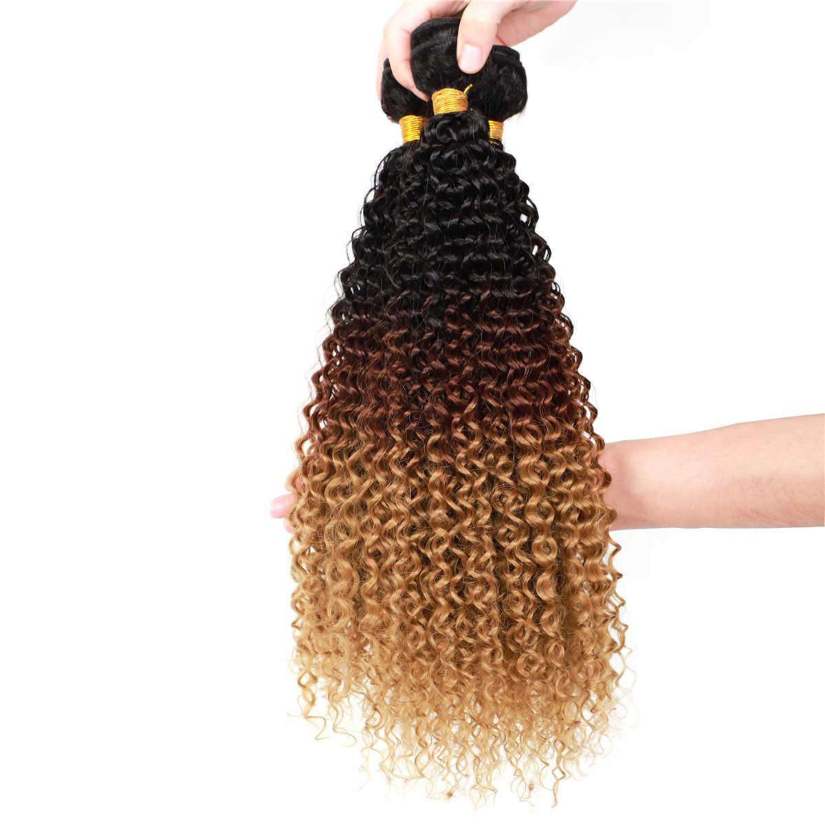 Afro pasma kręconych włosów dla afrykańskich kobiet syntetyczny włosy z włókna wysokowytrzymałego tkania trzy Tone kolor Ombre T1B/4/27 100g