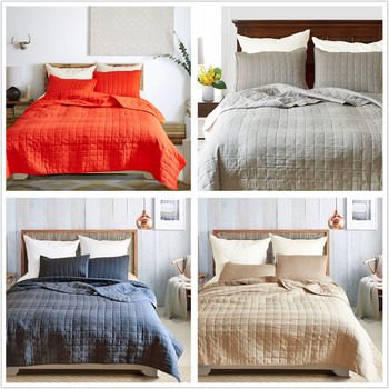 Solid Coverlet Sets with Bed Cover and Pillowcase Quilted Reactive Printing Queen King Size Bedroom Decor Accessories Hotel Use