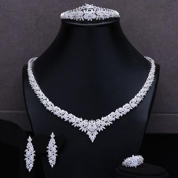 missvikki Charm Luxury Women Nigerian Wedding Naija Bride Cubic Zirconia Necklace Dubai 4PCS Dress Jewelry Set High Quality