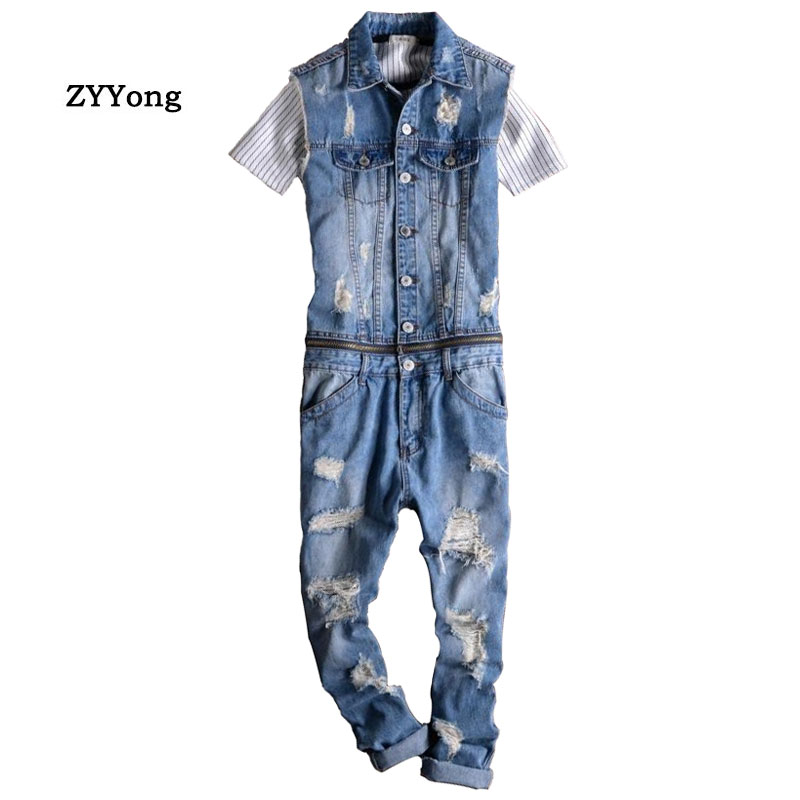 Summer Men's Sleeveless Denim Jumpsuit Hip-Hop Ripped Jeans Removable Waist Casual Overalls Cargo Pants Fashion Hole Trousers
