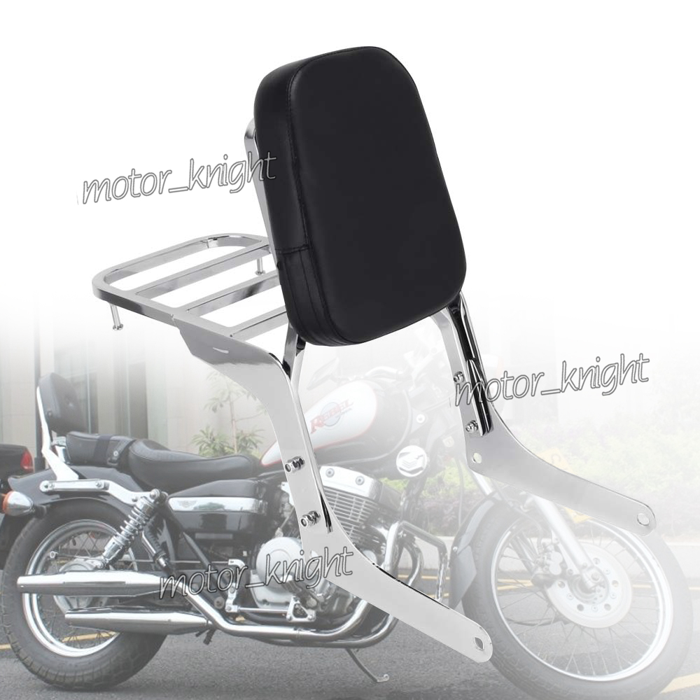 Motorcycle Chrome Passenger Backrest Sissy Bar W/ Rear Luggage Rack Support Saddlebag Cargo For Honda REBEL250C CA250C CMX250
