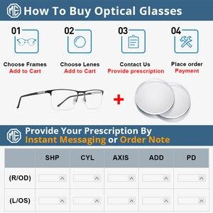 Image 5 - MERRYS conception de lunettes pour hommes, monture de lunettes en alliage carré demi optique ultraléger, Style Business, pour myopie, Prescription, S2051