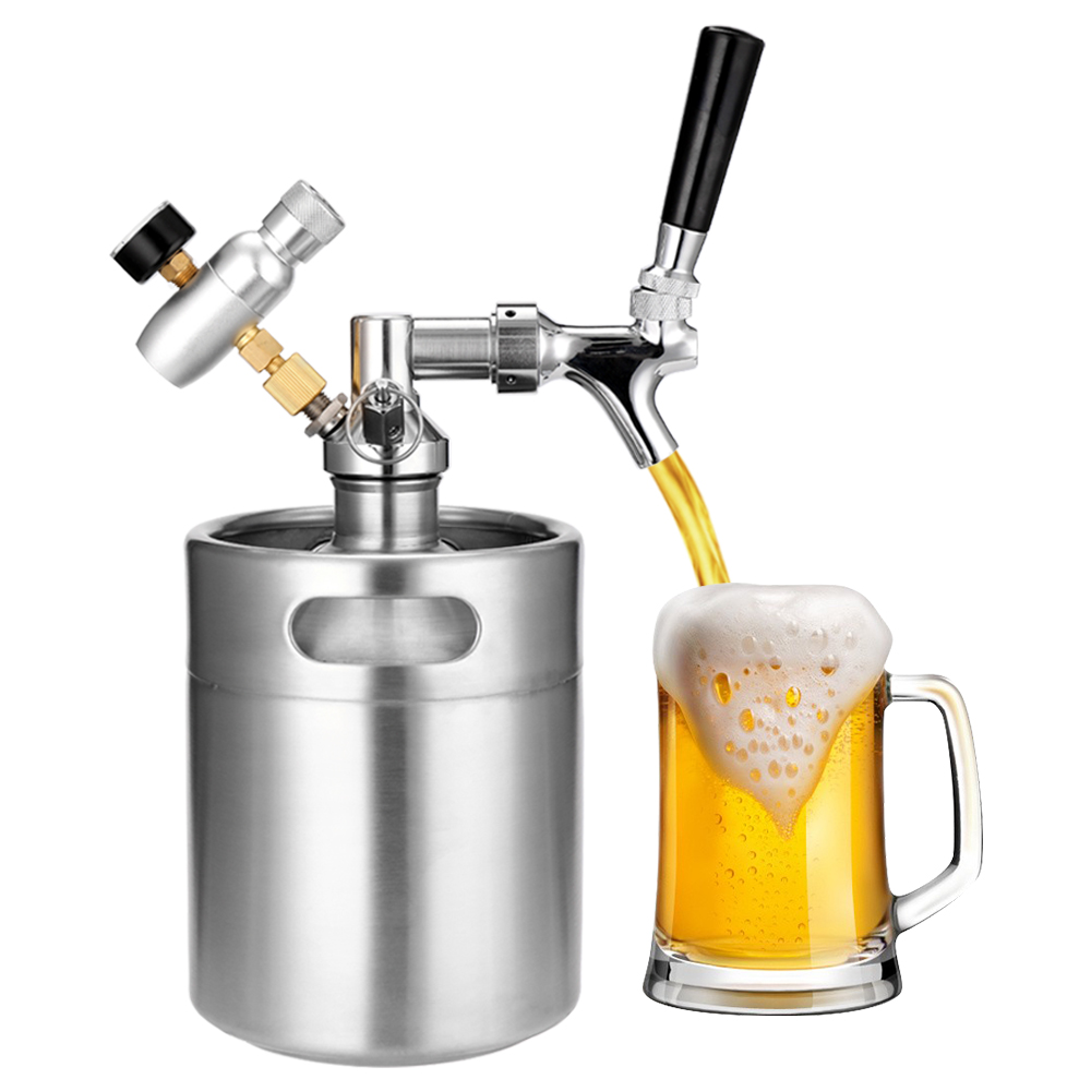 304 Stainless Steel 2L Mini Beer Keg with Tap Pressurized Home Beer Brewing Craft Beer Dispenser Growler System image