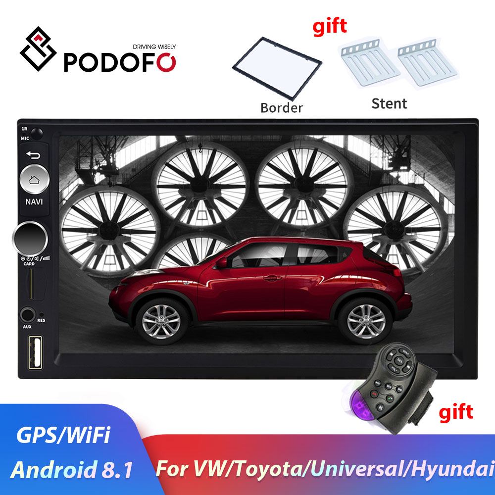 Podofo 2din Car Radio Android Car Multimedia Player 2 Din Car Autoradio GPS For Volkswagen Nissan Hyundai Toyota KIa Ford Stereo