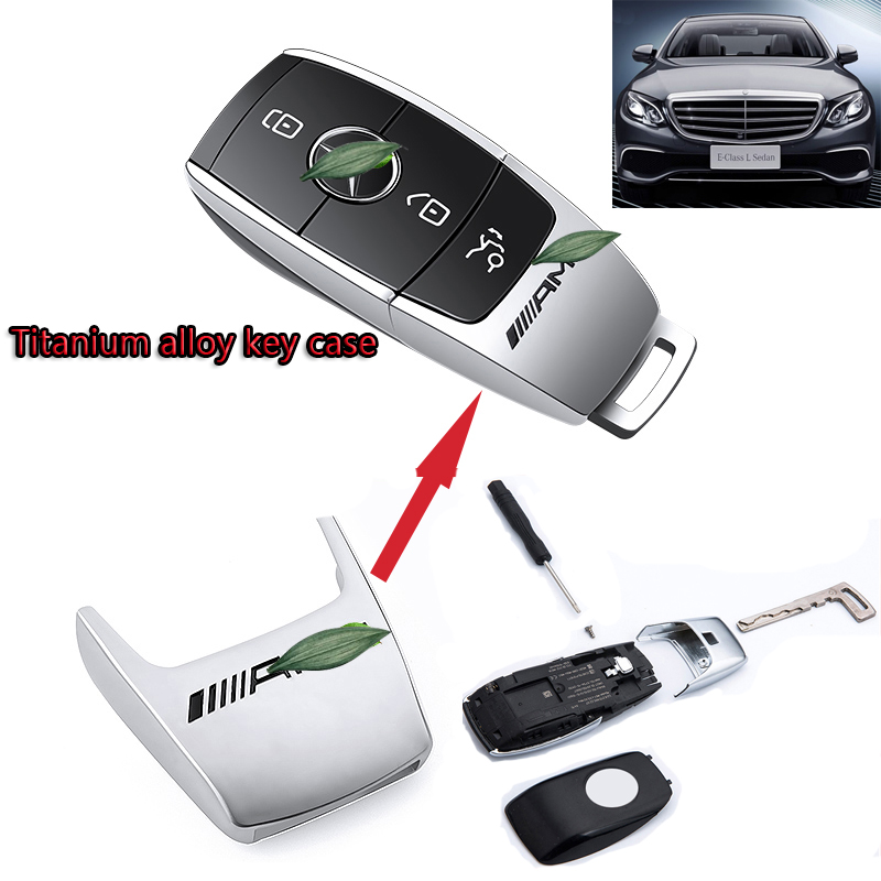 Mercedes Benz Cover Case Key Titanium Alloy Remote Smart Key Shell Half Case For Mercedes Benz AMG C E Class 2016-2018