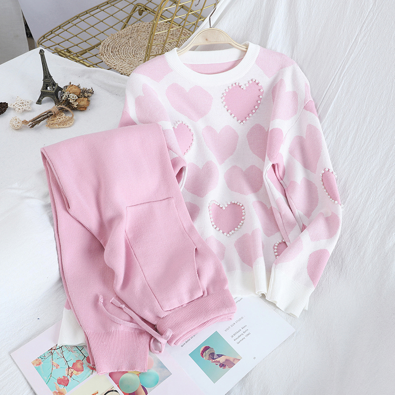 New Autumn Winter Sweet Love Print Beads Pullover Top Sweater + High Waist Double Pockets Knitted Pants Two-piece Set For Women